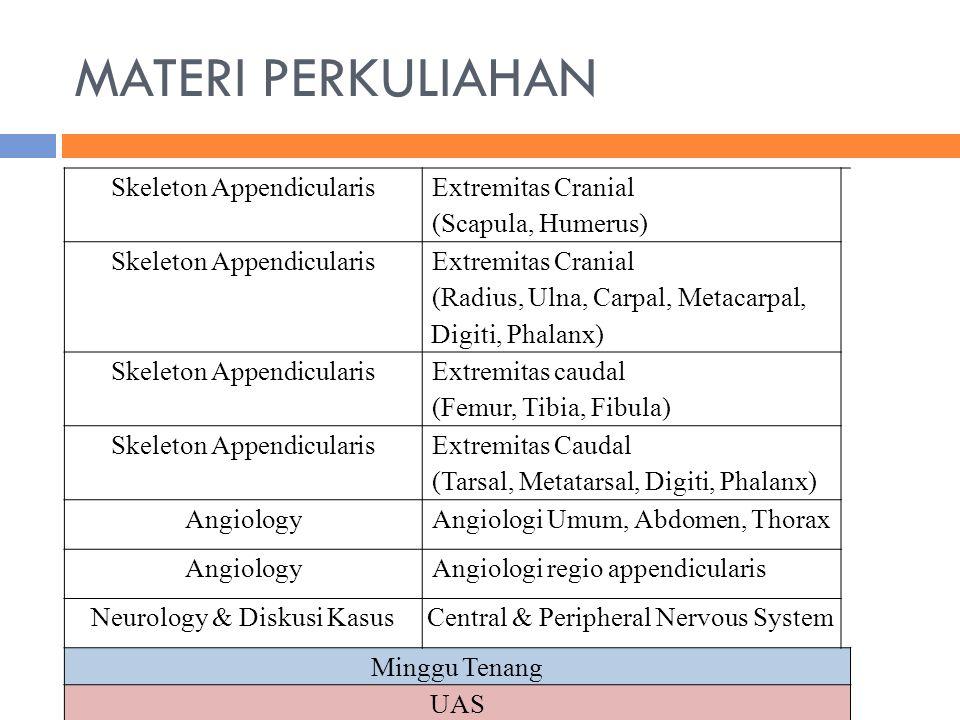 MATERI PERKULIAHAN Skeleton Appendicularis Extremitas Cranial (Scapula, Humerus) Skeleton Appendicularis Extremitas Cranial (Radius, Ulna, Carpal, Met