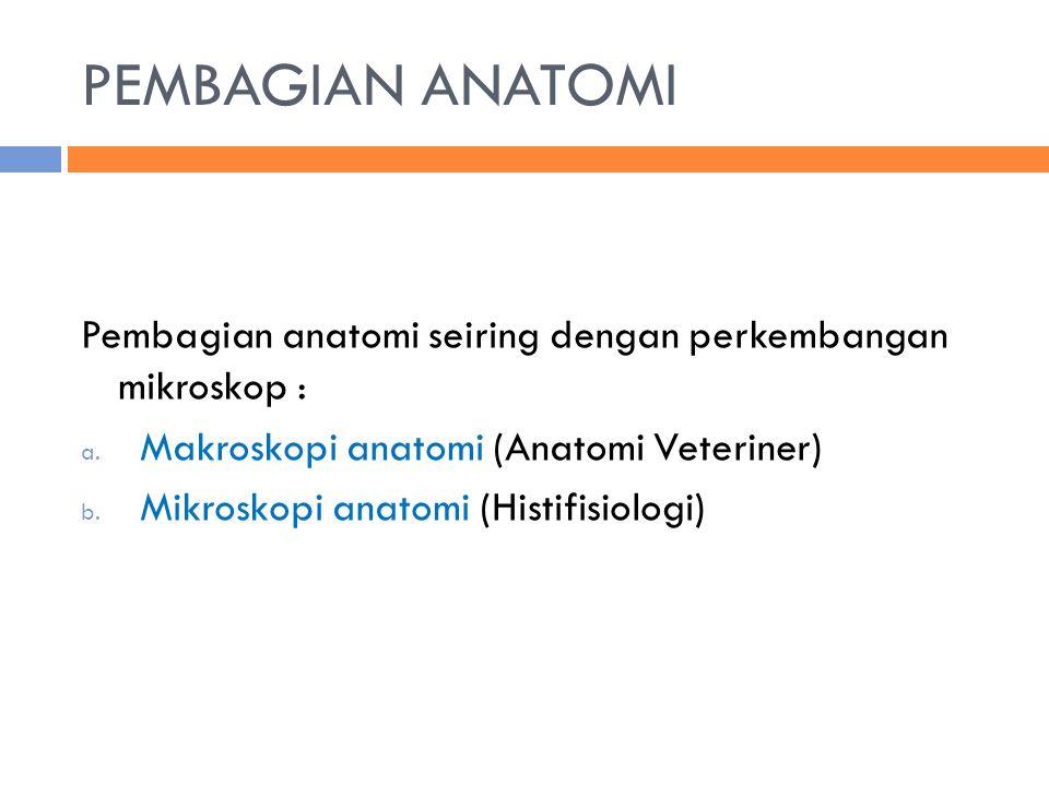 PEMBAGIAN ANATOMI Pembagian anatomi seiring dengan perkembangan mikroskop : a. Makroskopi anatomi (Anatomi Veteriner) b. Mikroskopi anatomi (Histifisi