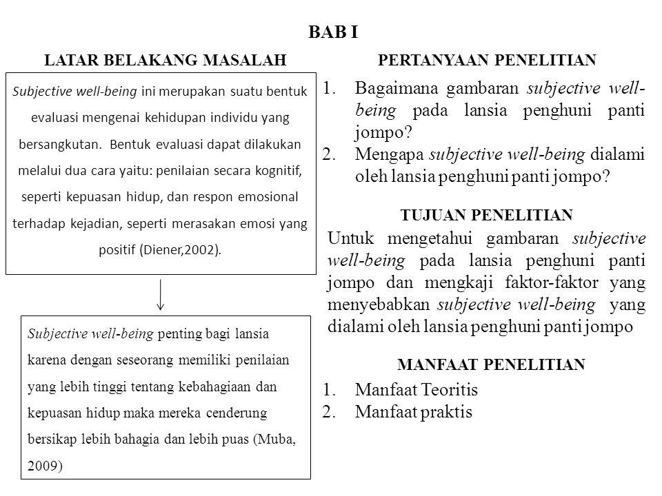 BAB II Pengertian Subjective Well-being Menurut Diener dan Lucas (1999), Subjective Well-being adalah evaluasi seseorang tentang hidup mereka, termasuk penilaian kognitif terhadap kepuasan hidupnya serta evaluasi afektif dari mood dan emosi-emosi.