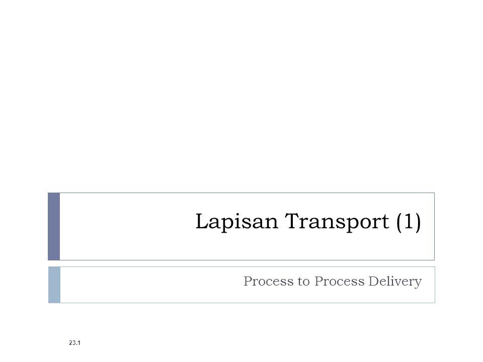 PROCESS-TO-PROCESS DELIVERY The transport layer bertanggung jawab untuk process- to-process delivery Pengiriman dari sebuah paket (bace : penggalan- penggalan dari sebuah pesan) dari satu proses ke proses lainnya.