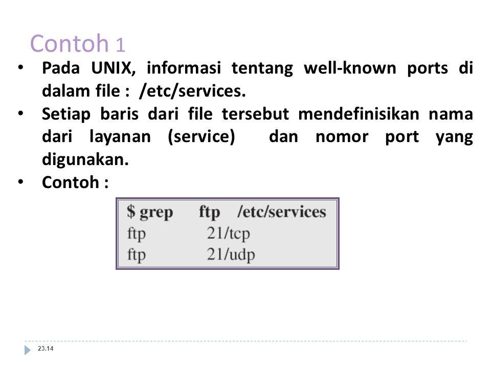 Contoh 1 23.14 Pada UNIX, informasi tentang well-known ports di dalam file : /etc/services. Setiap baris dari file tersebut mendefinisikan nama dari l