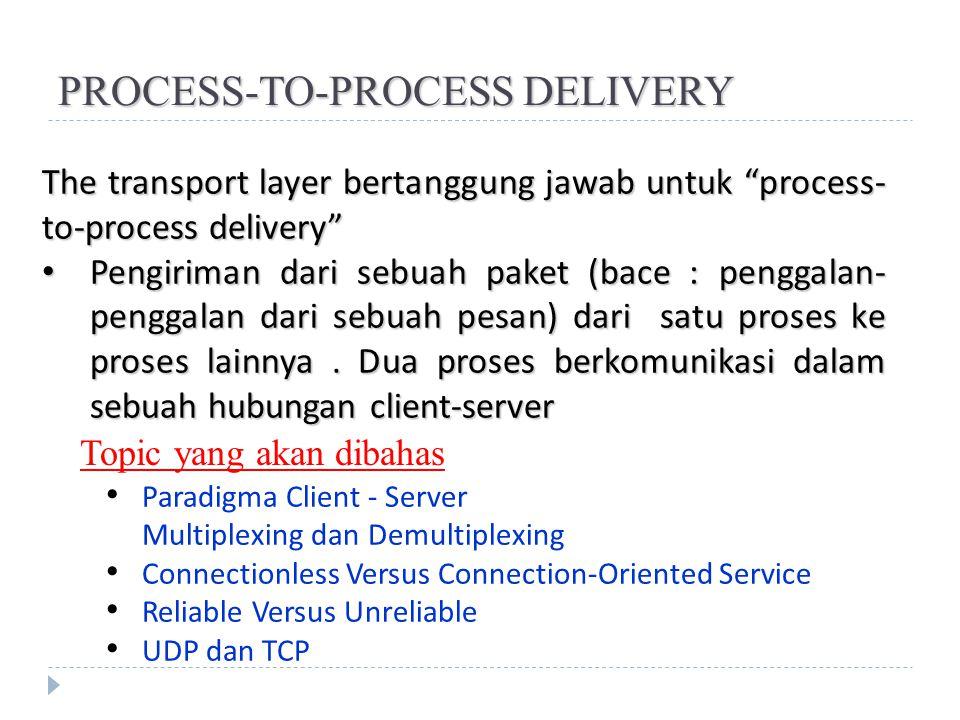 "PROCESS-TO-PROCESS DELIVERY The transport layer bertanggung jawab untuk ""process- to-process delivery"" Pengiriman dari sebuah paket (bace : penggalan-"
