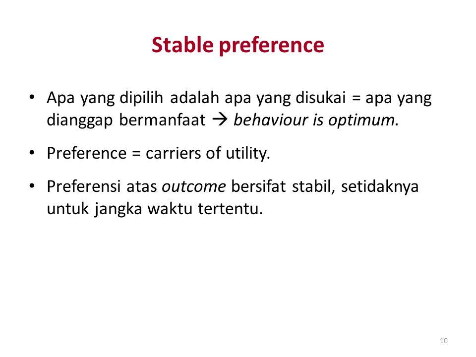10 Stable preference Apa yang dipilih adalah apa yang disukai = apa yang dianggap bermanfaat  behaviour is optimum. Preference = carriers of utility.