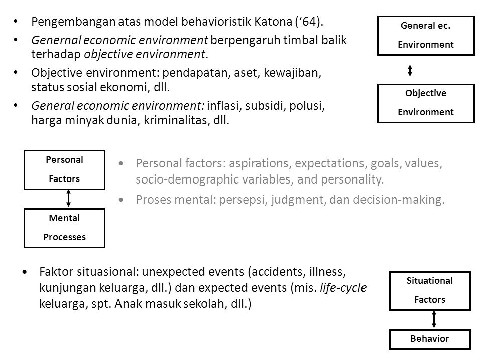 Pengembangan atas model behavioristik Katona ('64). Genernal economic environment berpengaruh timbal balik terhadap objective environment. Objective e