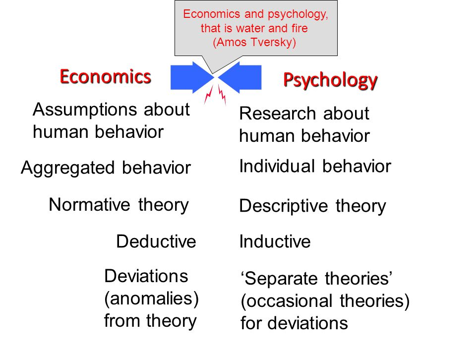 Assumptions about human behavior Aggregated behavior Normative theory Deductive Deviations (anomalies) from theory Economics Psychology Research about