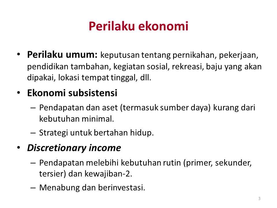 3 Perilaku ekonomi Perilaku umum: keputusan tentang pernikahan, pekerjaan, pendidikan tambahan, kegiatan sosial, rekreasi, baju yang akan dipakai, lok