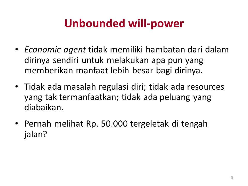 9 Unbounded will-power Economic agent tidak memiliki hambatan dari dalam dirinya sendiri untuk melakukan apa pun yang memberikan manfaat lebih besar b