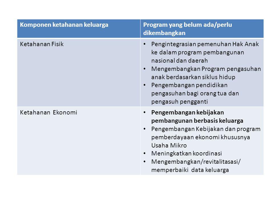 Komponen ketahanan keluargaProgram yang belum ada/perlu dikembangkan Ketahanan Fisik Pengintegrasian pemenuhan Hak Anak ke dalam program pembangunan n