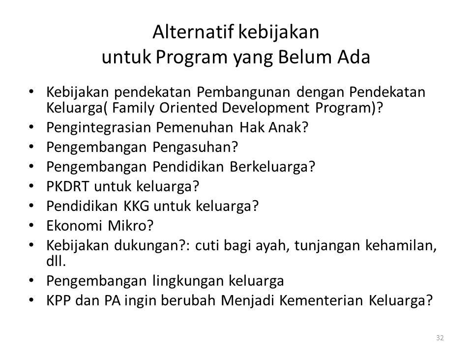 Alternatif kebijakan untuk Program yang Belum Ada Kebijakan pendekatan Pembangunan dengan Pendekatan Keluarga( Family Oriented Development Program)? P