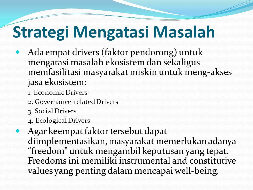 Strategi Mengatasi Masalah Ada empat drivers (faktor pendorong) untuk mengatasi masalah ekosistem dan sekaligus memfasilitasi masyarakat miskin untuk meng-akses jasa ekosistem: 1.