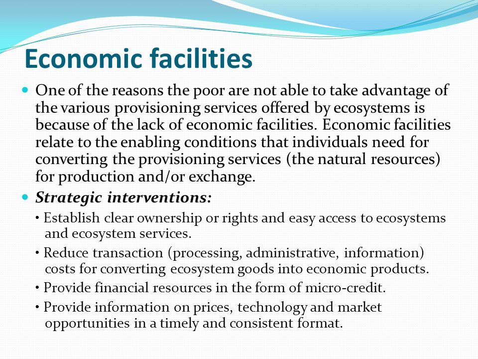 Economic facilities One of the reasons the poor are not able to take advantage of the various provisioning services offered by ecosystems is because o