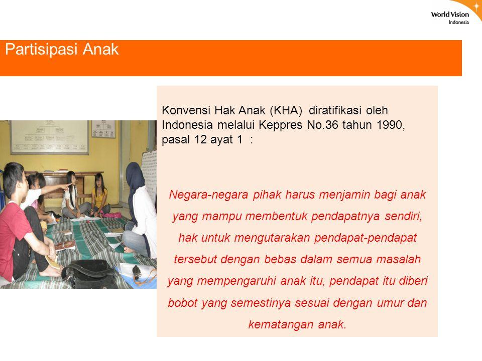 Partisipasi Anak Konvensi Hak Anak (KHA) diratifikasi oleh Indonesia melalui Keppres No.36 tahun 1990, pasal 12 ayat 1 : Negara-negara pihak harus men