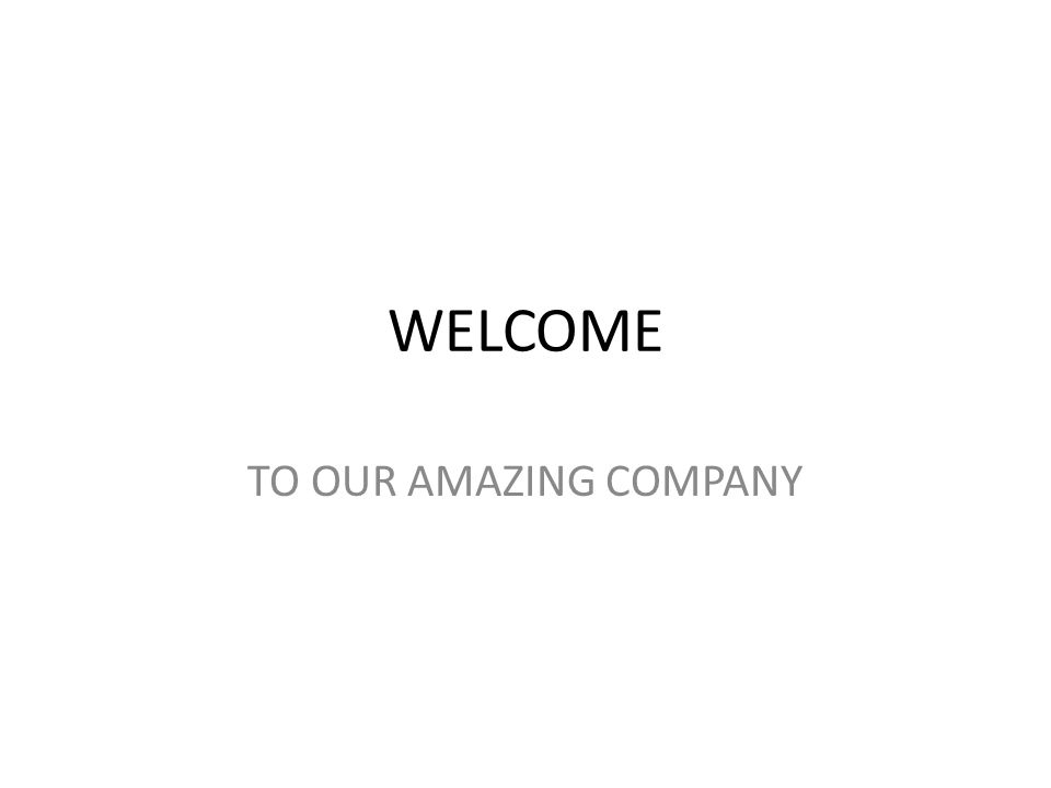 WELCOME TO OUR AMAZING COMPANY