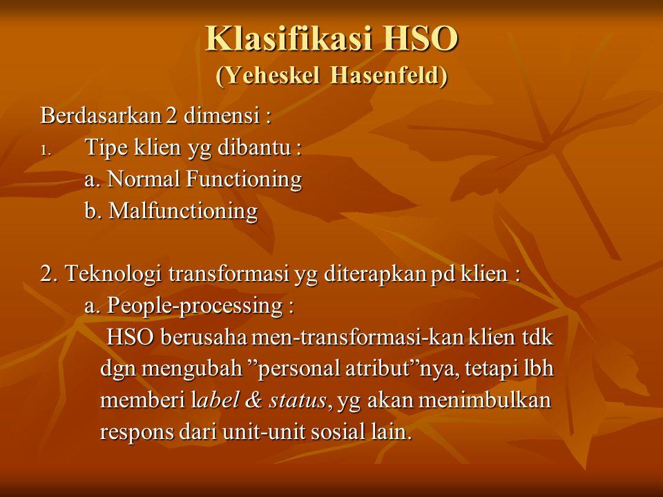 Klasifikasi HSO (Yeheskel Hasenfeld) Berdasarkan 2 dimensi : 1. Tipe klien yg dibantu : a. Normal Functioning b. Malfunctioning 2. Teknologi transform