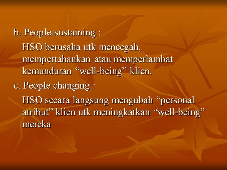 "b. People-sustaining : HSO berusaha utk mencegah, mempertahankan atau memperlambat kemunduran ""well-being"" klien. c. People changing : HSO secara lang"