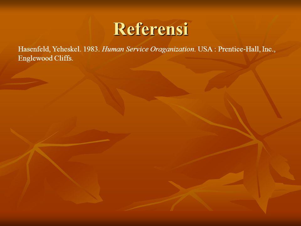 Referensi Hasenfeld, Yeheskel. 1983. Human Service Oraganization. USA : Prentice-Hall, Inc., Englewood Cliffs.