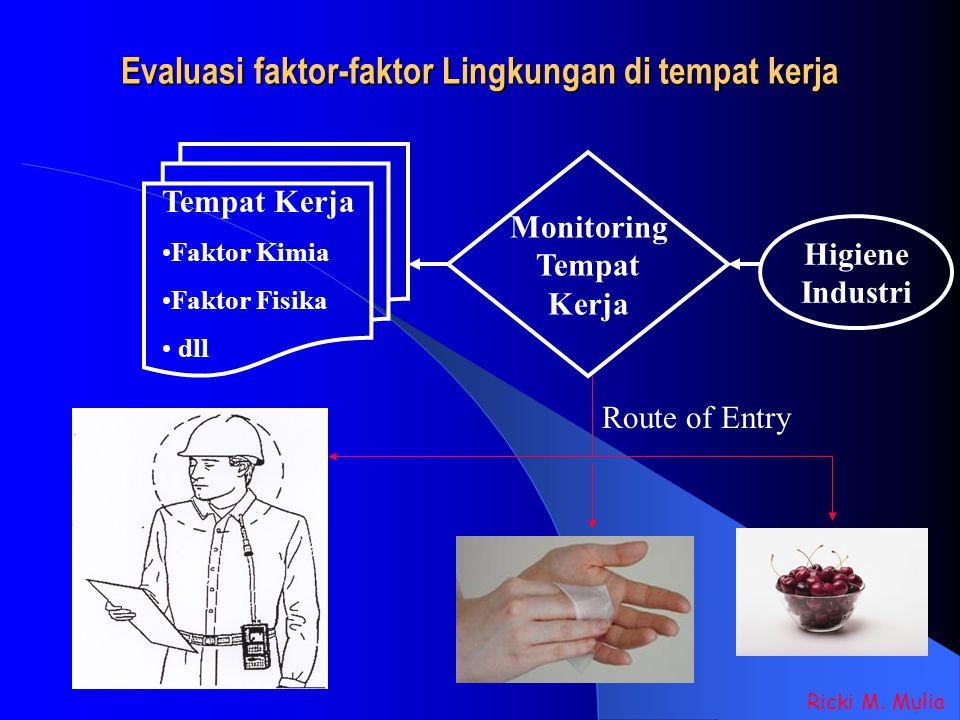 Evaluasi faktor-faktor Lingkungan di tempat kerja Ricki M. Mulia Tempat Kerja Faktor Kimia Faktor Fisika dll Higiene Industri Monitoring Tempat Kerja
