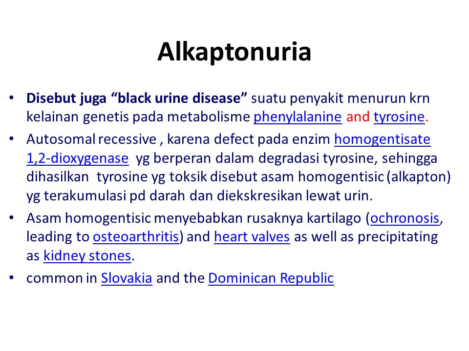 Phenotype for alcaptonuria: individuals with the disease show urine which blackens upon exposure to air