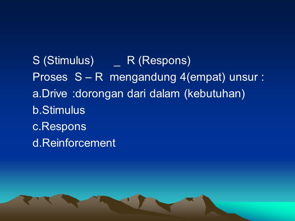 S (Stimulus) _ R (Respons) Proses S – R mengandung 4(empat) unsur : a.Drive :dorongan dari dalam (kebutuhan) b.Stimulus c.Respons d.Reinforcement