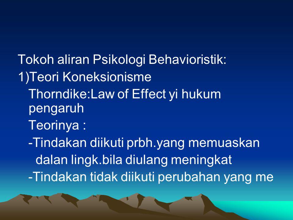 Tokoh aliran Psikologi Behavioristik: 1)Teori Koneksionisme Thorndike:Law of Effect yi hukum pengaruh Teorinya : -Tindakan diikuti prbh.yang memuaskan