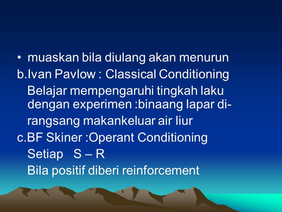 muaskan bila diulang akan menurun b.Ivan Pavlow : Classical Conditioning Belajar mempengaruhi tingkah laku dengan experimen :binaang lapar di- rangsan