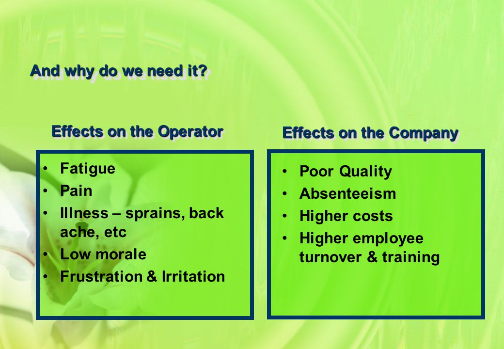 Effects on the Operator Effects on the Company And why do we need it? Poor Quality Absenteeism Higher costs Higher employee turnover & training Fatigu