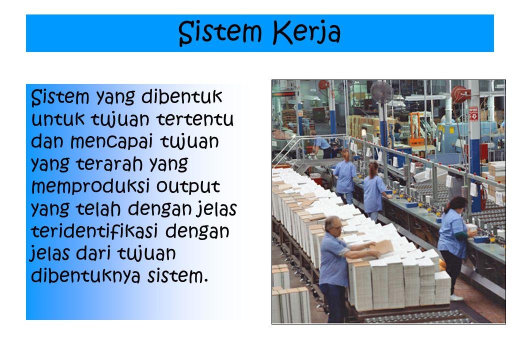 Sistem Kerja Sistem yang dibentuk untuk tujuan tertentu dan mencapai tujuan yang terarah yang memproduksi output yang telah dengan jelas teridentifikasi dengan jelas dari tujuan dibentuknya sistem.