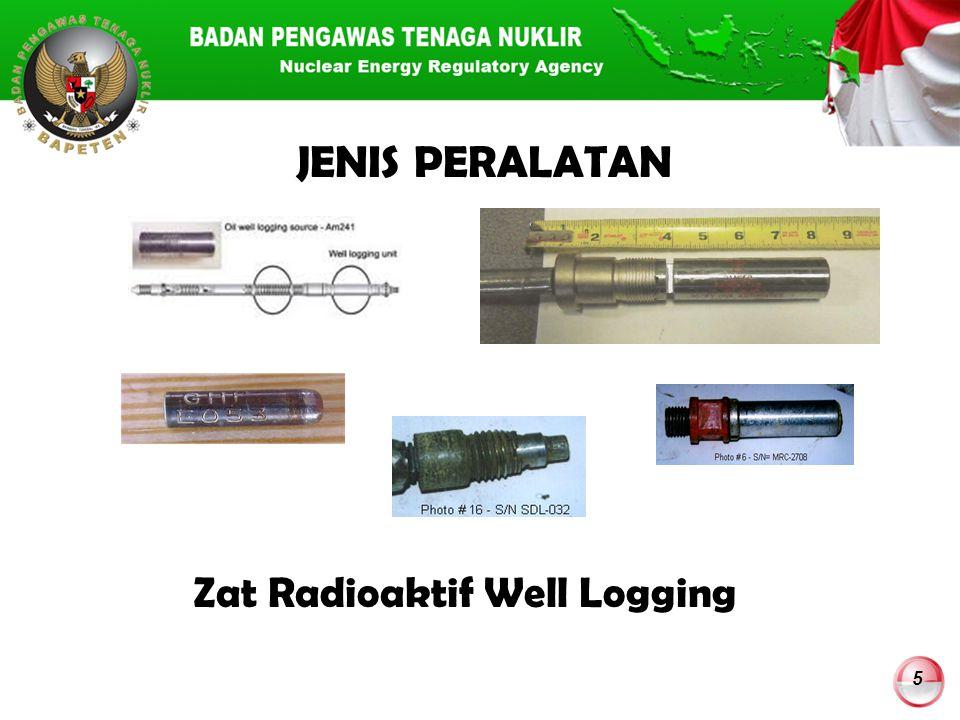 6 JENIS RADIONUKLIDA YANG UMUM DIGUNAKAN DALAM WELL LOGGING RadionukidaSimbol Energi Gamma (MeV) Waktu Paro Caesium-137Cs-137Tinggi (0,662) 30 tahun Americium-241Am-241Tinggi (0,662) 432 tahun Americium- 241/Beryllium Am-241-BeTinggi (4,5) - Neutron 432 tahun Cobalt-60C0-60Tinggi (1,17 dan 1,33) 5,3 tahun Californium-252Cf-252Tinggi - Neutron