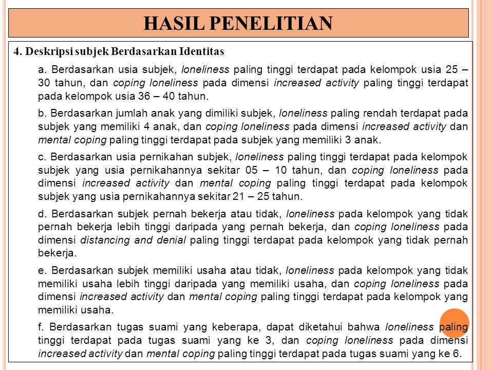 HASIL PENELITIAN 4.Deskripsi subjek Berdasarkan Identitas a.