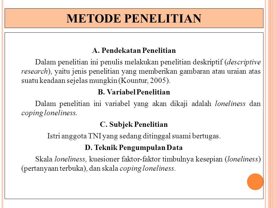METODE PENELITIAN A. Pendekatan Penelitian Dalam penelitian ini penulis melakukan penelitian deskriptif (descriptive research), yaitu jenis penelitian