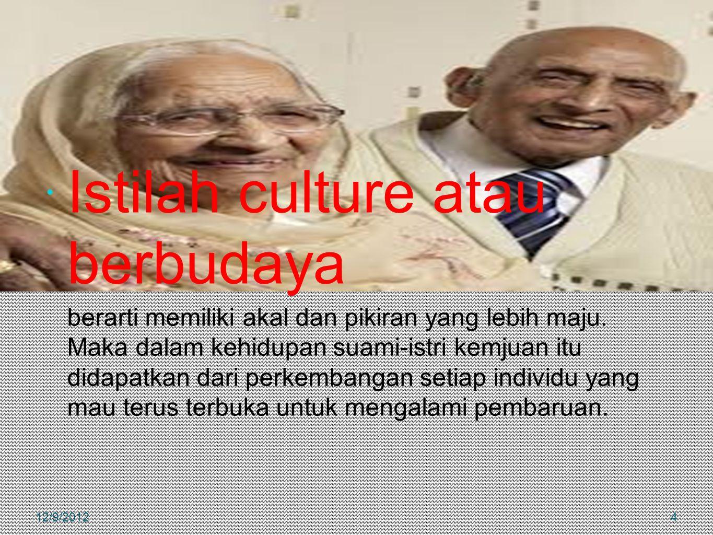  Istilah culture atau berbudaya berarti memiliki akal dan pikiran yang lebih maju. Maka dalam kehidupan suami-istri kemjuan itu didapatkan dari perke