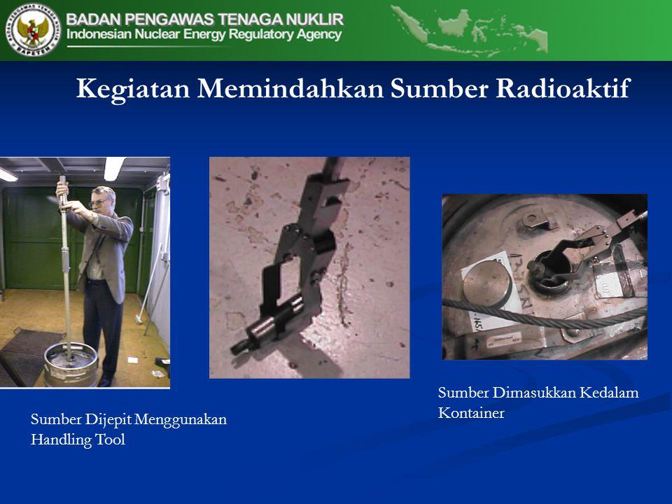 Kegiatan Memindahkan Sumber Radioaktif Sumber Dijepit Menggunakan Handling Tool Sumber Dimasukkan Kedalam Kontainer
