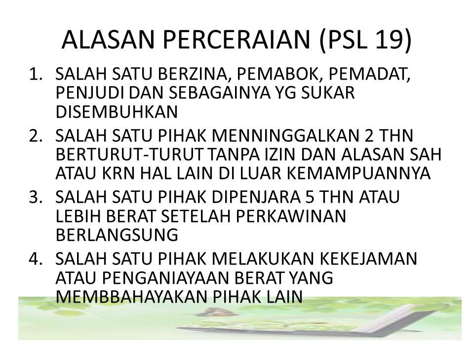 ALASAN PERCERAIAN (PSL 19) 1.SALAH SATU BERZINA, PEMABOK, PEMADAT, PENJUDI DAN SEBAGAINYA YG SUKAR DISEMBUHKAN 2.SALAH SATU PIHAK MENNINGGALKAN 2 THN