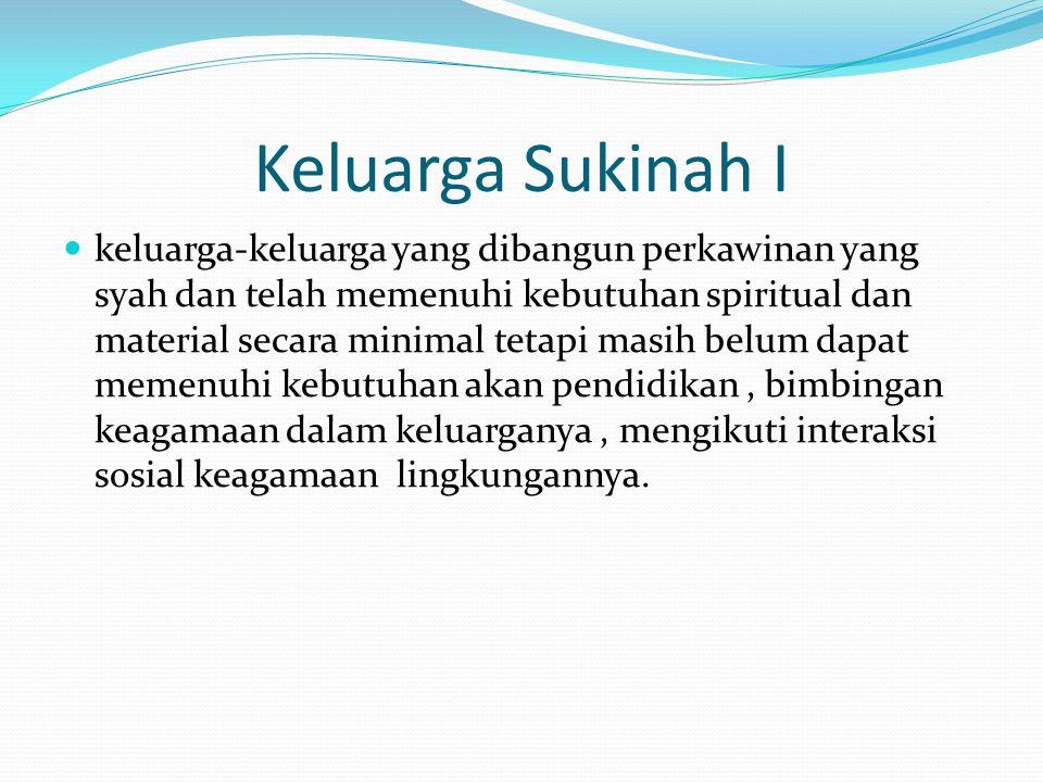 Keluarga Sukinah I keluarga-keluarga yang dibangun perkawinan yang syah dan telah memenuhi kebutuhan spiritual dan material secara minimal tetapi masi