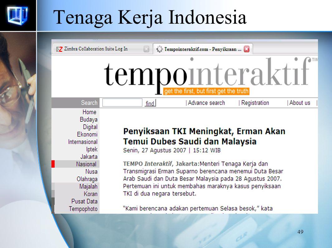 48 Perkembangan Penempatan Tenaga Kerja di Malaysia Menurut Negara Penempatan dan Sektor