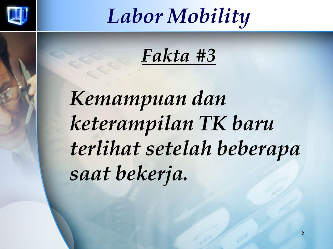 16 Labor Mobility Aba Schwarz : Kenaikan jarak antara daerah asal dan daerah tujuan sebesar 2 kali lipat menekan tingkat migrasi sebesar 50 %.