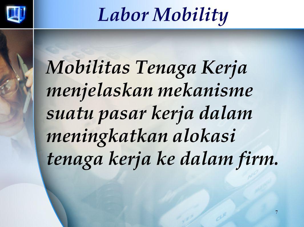 7 Labor Mobility Mobilitas Tenaga Kerja menjelaskan mekanisme suatu pasar kerja dalam meningkatkan alokasi tenaga kerja ke dalam firm.