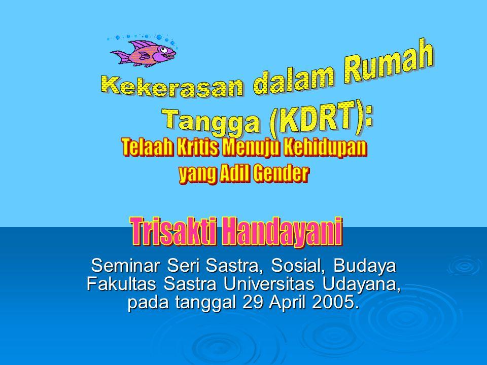 DAMPAK KDRT:  Hampir setiap negara di dunia terjadi persoalan KDRT  Berbagai penelitian tentang KDRT pernah dilakukan di Indonesia, walaupun data kuantitatif tentang kasus KDRT belum pernah tercatat secara jelas.