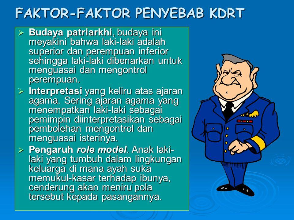 FAKTOR-FAKTOR PENYEBAB KDRT  Budaya patriarkhi, budaya ini meyakini bahwa laki-laki adalah superior dan perempuan inferior sehingga laki-laki dibenar