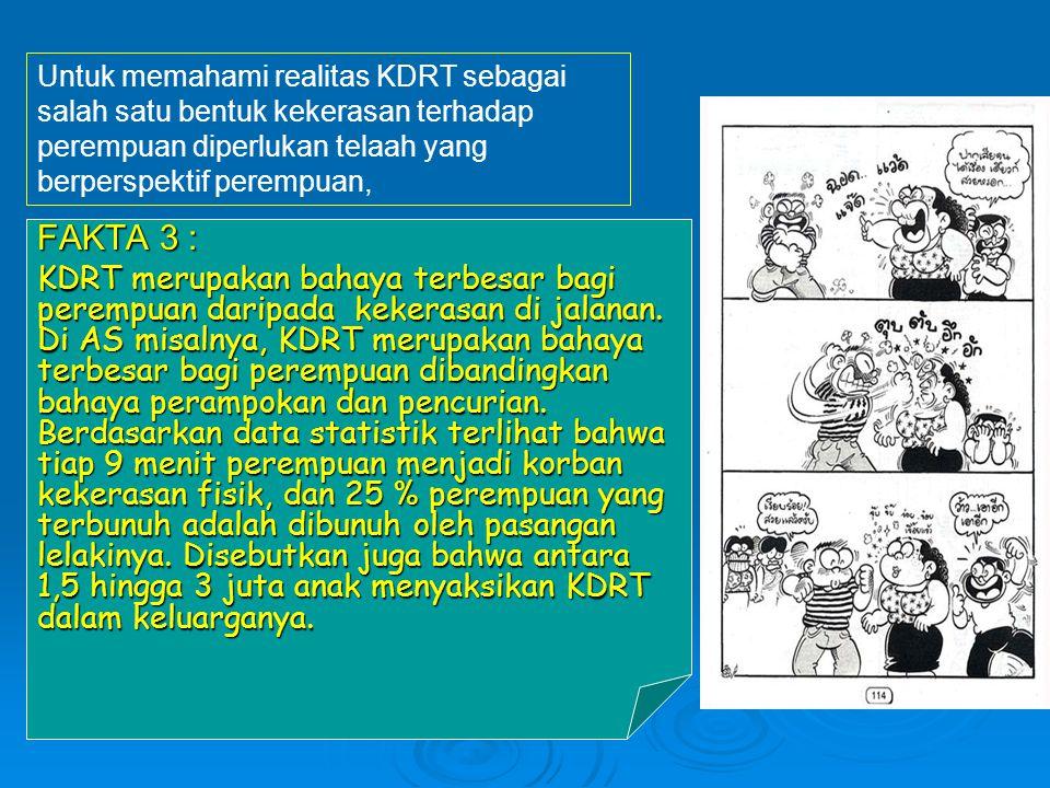 Di Indonesia, masyarakat lebih senang menyembunyikan masalah KDRT, karena : 1.
