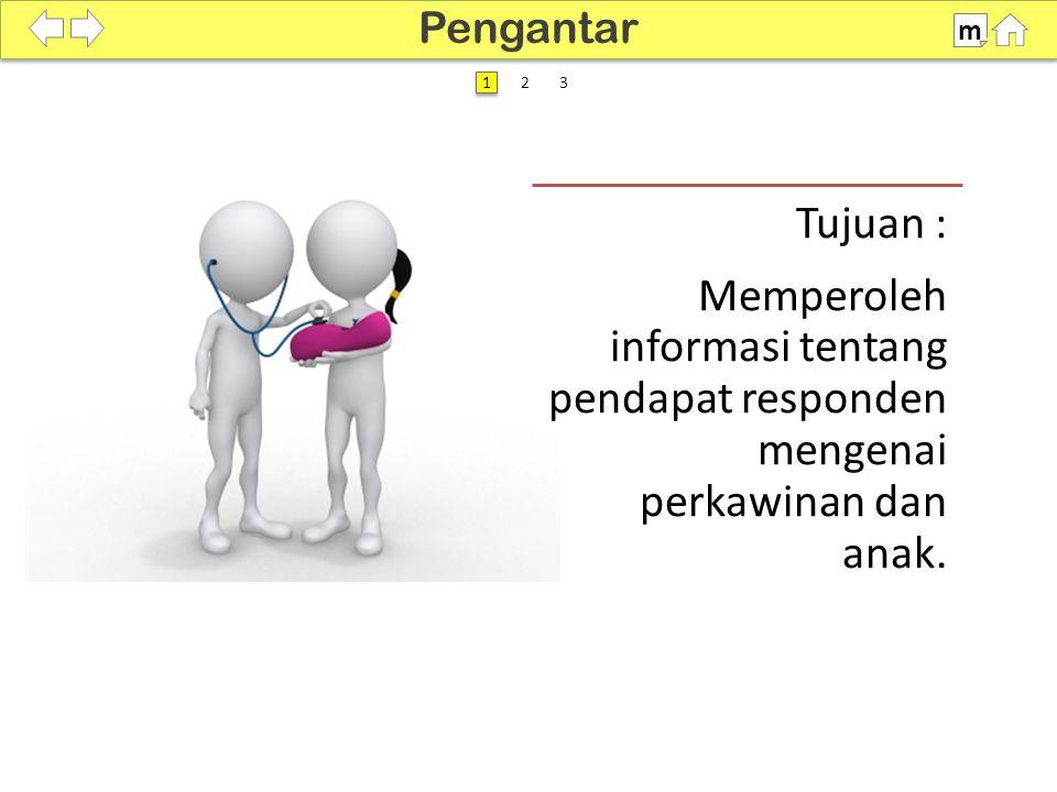 100% SDKI 2012 Tujuan : Memperoleh informasi tentang pendapat responden mengenai perkawinan dan anak. Pengantar m 1 1
