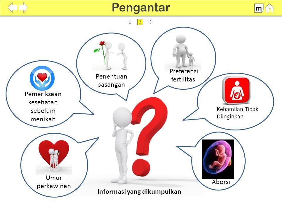 SDKI 2012 100% Penentuan pasangan Preferensi fertilitas Aborsi Kehamilan Tidak Diinginkan Pemeriksaan kesehatan sebelum menikah Umur perkawinan Informasi yang dikumpulkan Pengantar m 1 1