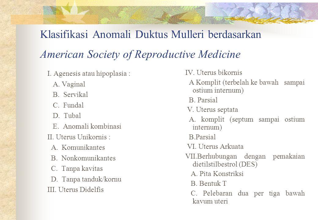 Klasifikasi Anomali Duktus Mulleri berdasarkan American Society of Reproductive Medicine I. Agenesis atau hipoplasia : A. Vaginal B. Servikal C. Funda