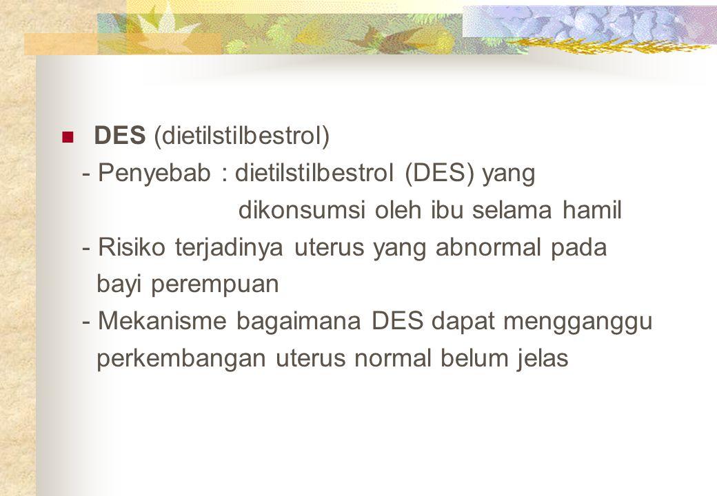 DES (dietilstilbestrol) - Penyebab : dietilstilbestrol (DES) yang dikonsumsi oleh ibu selama hamil - Risiko terjadinya uterus yang abnormal pada bayi