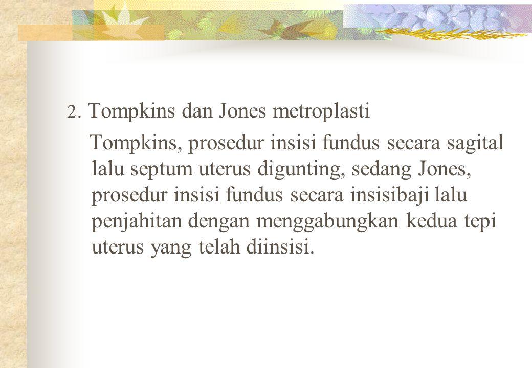 2. Tompkins dan Jones metroplasti Tompkins, prosedur insisi fundus secara sagital lalu septum uterus digunting, sedang Jones, prosedur insisi fundus s