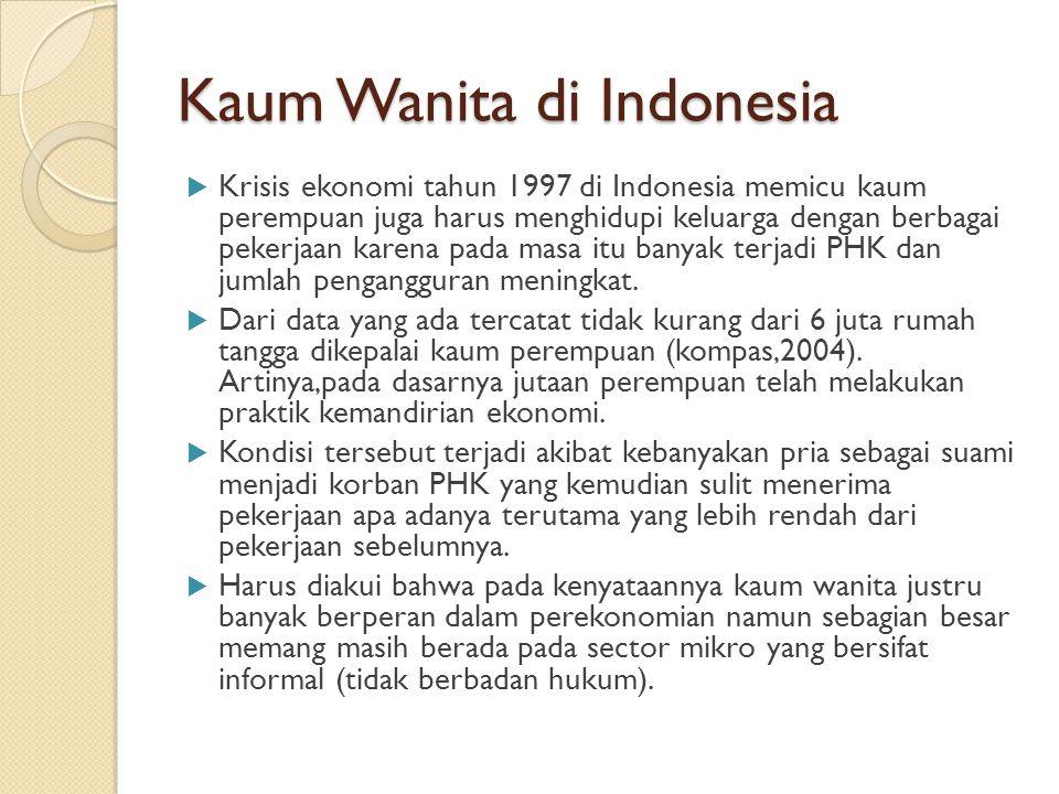 Kaum Wanita di Indonesia  Krisis ekonomi tahun 1997 di Indonesia memicu kaum perempuan juga harus menghidupi keluarga dengan berbagai pekerjaan karen