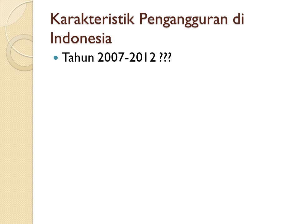 Karakteristik Pengangguran di Indonesia Tahun 2007-2012 ???