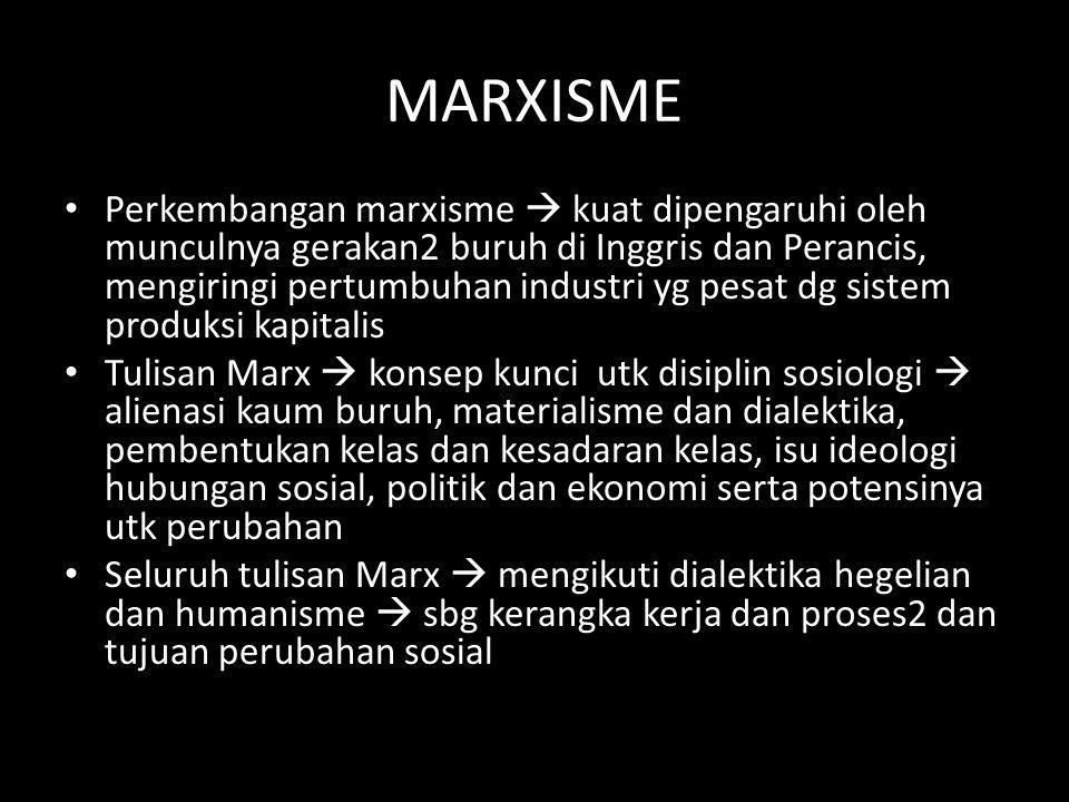 MARXISME Perkembangan marxisme  kuat dipengaruhi oleh munculnya gerakan2 buruh di Inggris dan Perancis, mengiringi pertumbuhan industri yg pesat dg s