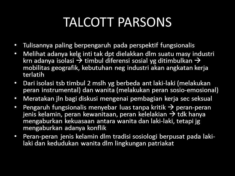 TALCOTT PARSONS Tulisannya paling berpengaruh pada perspektif fungsionalis Melihat adanya kelg inti tak dpt dielakkan dlm suatu masy industri krn adan