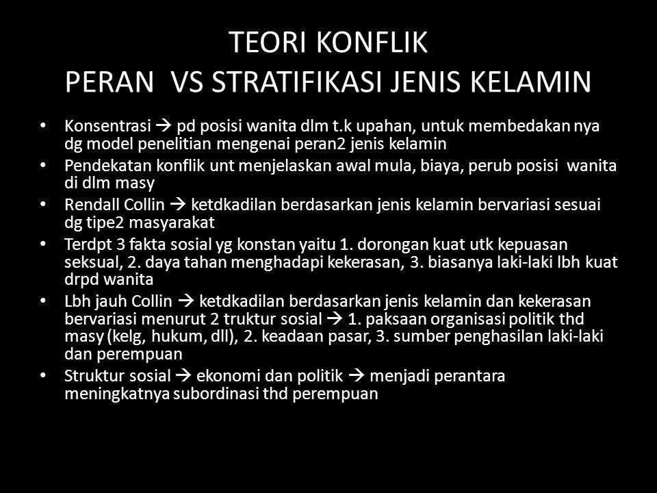 TEORI KONFLIK PERAN VS STRATIFIKASI JENIS KELAMIN Konsentrasi  pd posisi wanita dlm t.k upahan, untuk membedakan nya dg model penelitian mengenai per
